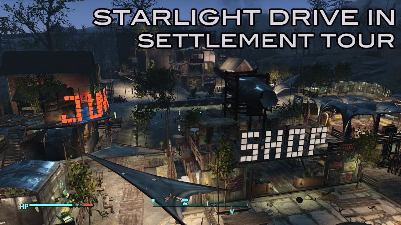 fallout 4 the starlight drive in settlement build tour youtube