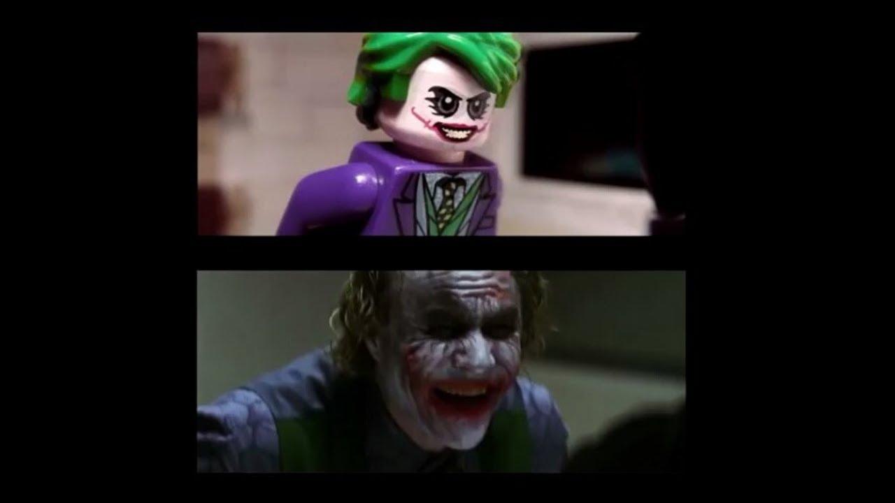 The Dark Knight LEGO Interrogation Scene SIDE BY SIDE