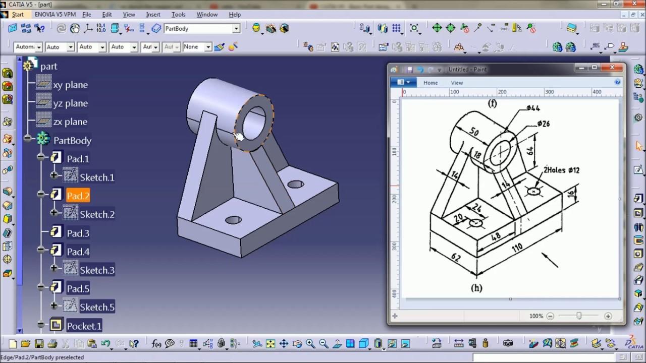 catia v5 tutorial part modeling youtube. Black Bedroom Furniture Sets. Home Design Ideas