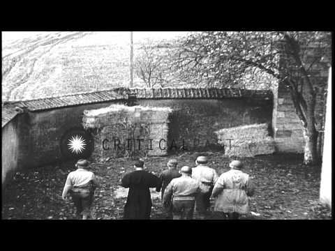 Military Policemen executes a German spy using the firing squad in Toul, France. HD Stock Footage