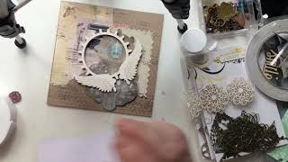 Steam punk greetings card made using items from Julys craft box 2018