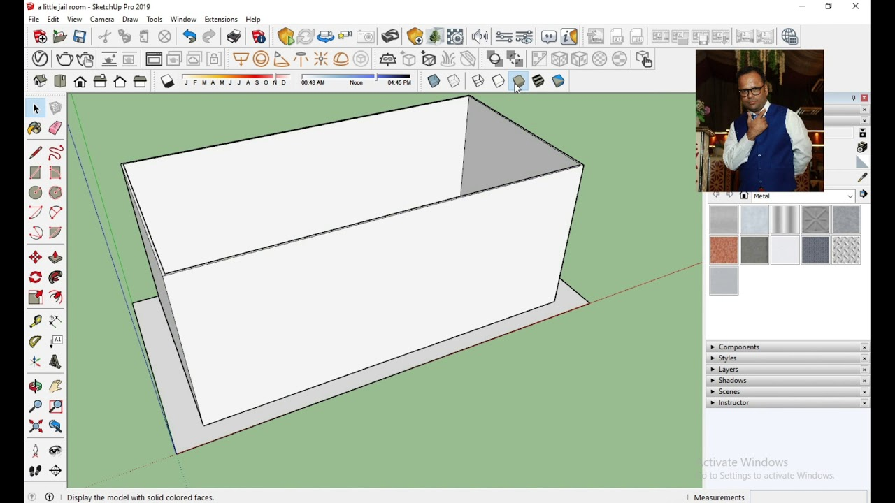 2d to 3d small jail floor plan in sketchup 2019 pro part 1