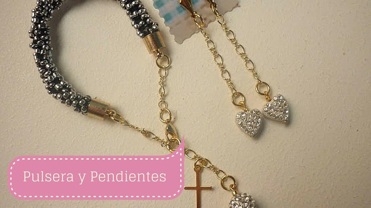 Manualidades PULSERA y PENDIENTES Fácil / Bisutería DIY ♥ Sor Amparo Arredondo R.