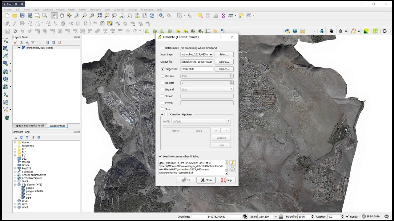 Convert ECW to GeoTIFF Format in QGIS Desktop 2 18