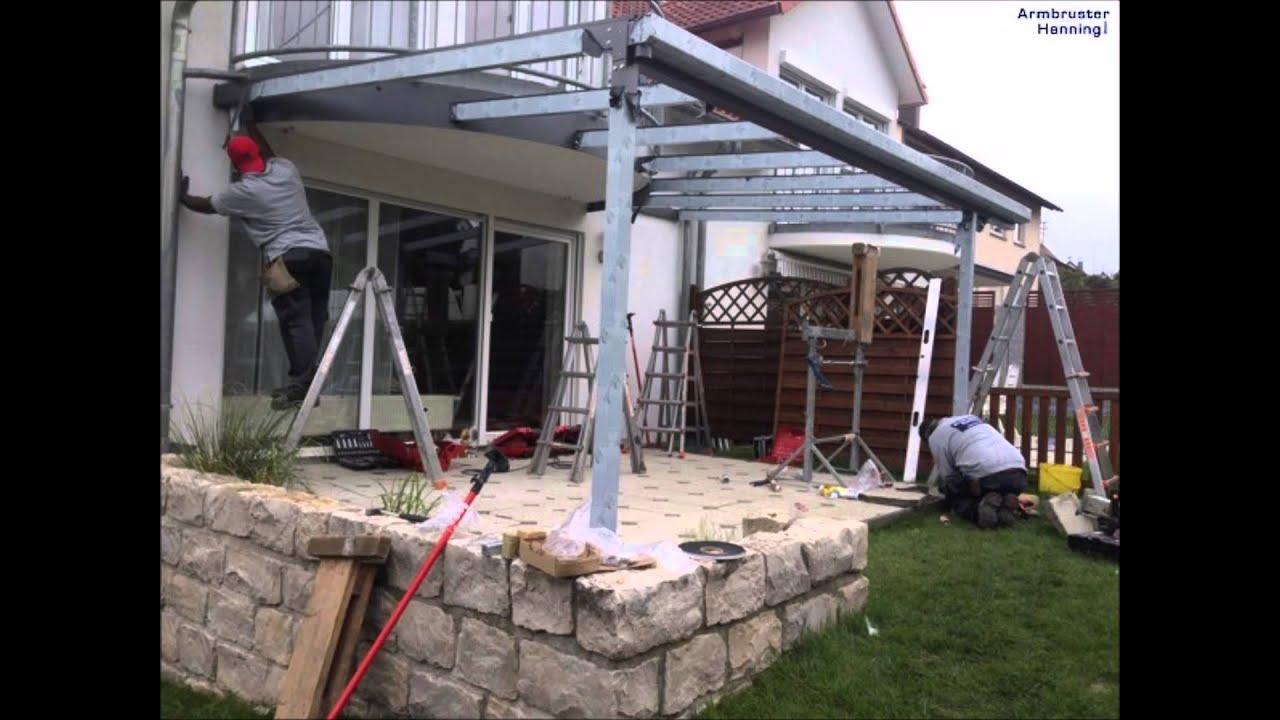 terrassendach in sindelfingen am runden balkon angesetzt youtube. Black Bedroom Furniture Sets. Home Design Ideas