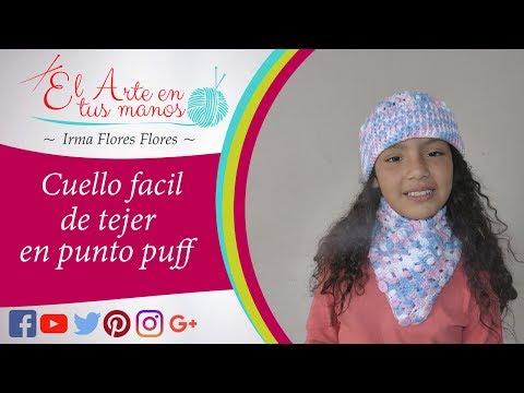 Cuello tejido a crochet para niñas /punto puff fácil de tejer paso a paso
