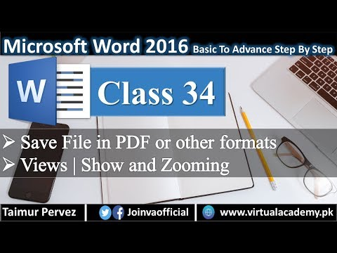 Microsoft Word Complete Course | Save File In Other Formats | View | Show and Zooming. 34 thumbnail