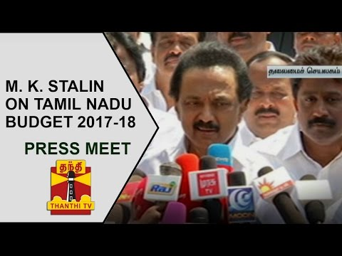 Opposition Leader M. K. Stalin's Press Meet on Tamil Nadu Budget 201718  Thanthi TV