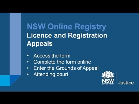 NSW Online Registry - Licence and Vehicle Registration Appeals