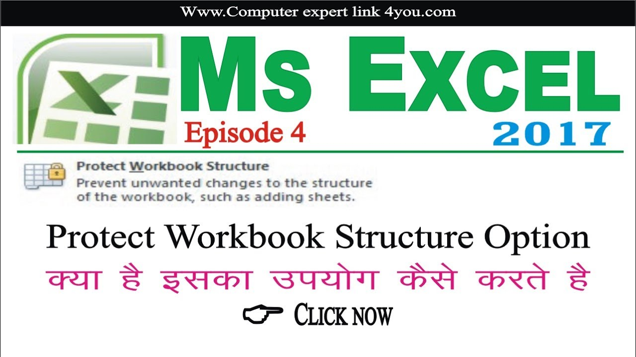 Workbooks how to protect excel workbook : how to use protect workbook structure option in hindi - YouTube