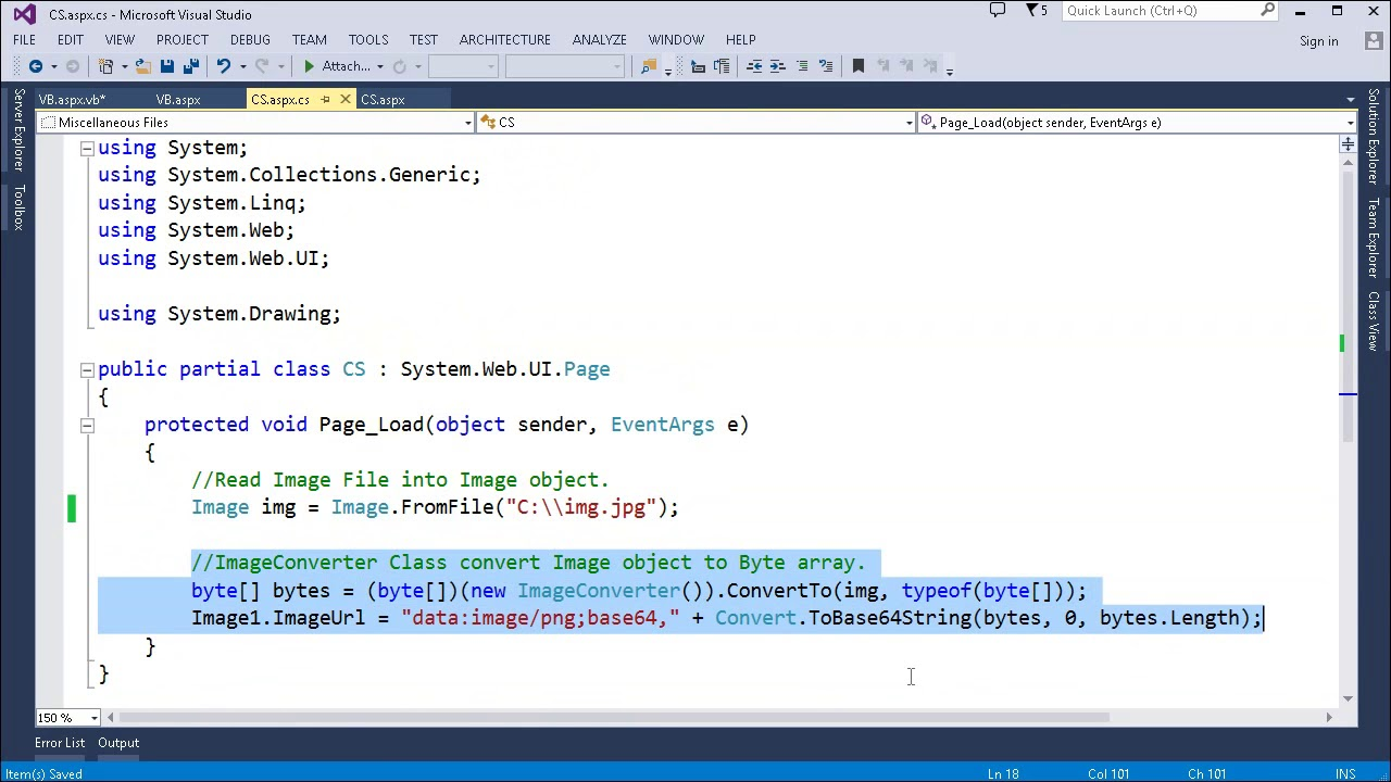 Convert System Drawing Image object to Array of Bytes - C#, VB Net
