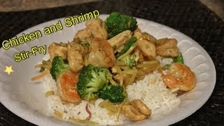 Chicken And Shrimp Stir-fry! Healthy Eating!!