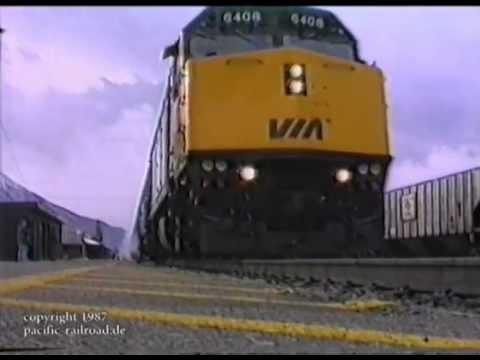 VIA Trans Canadian passing Banff Station November 1987 original footage