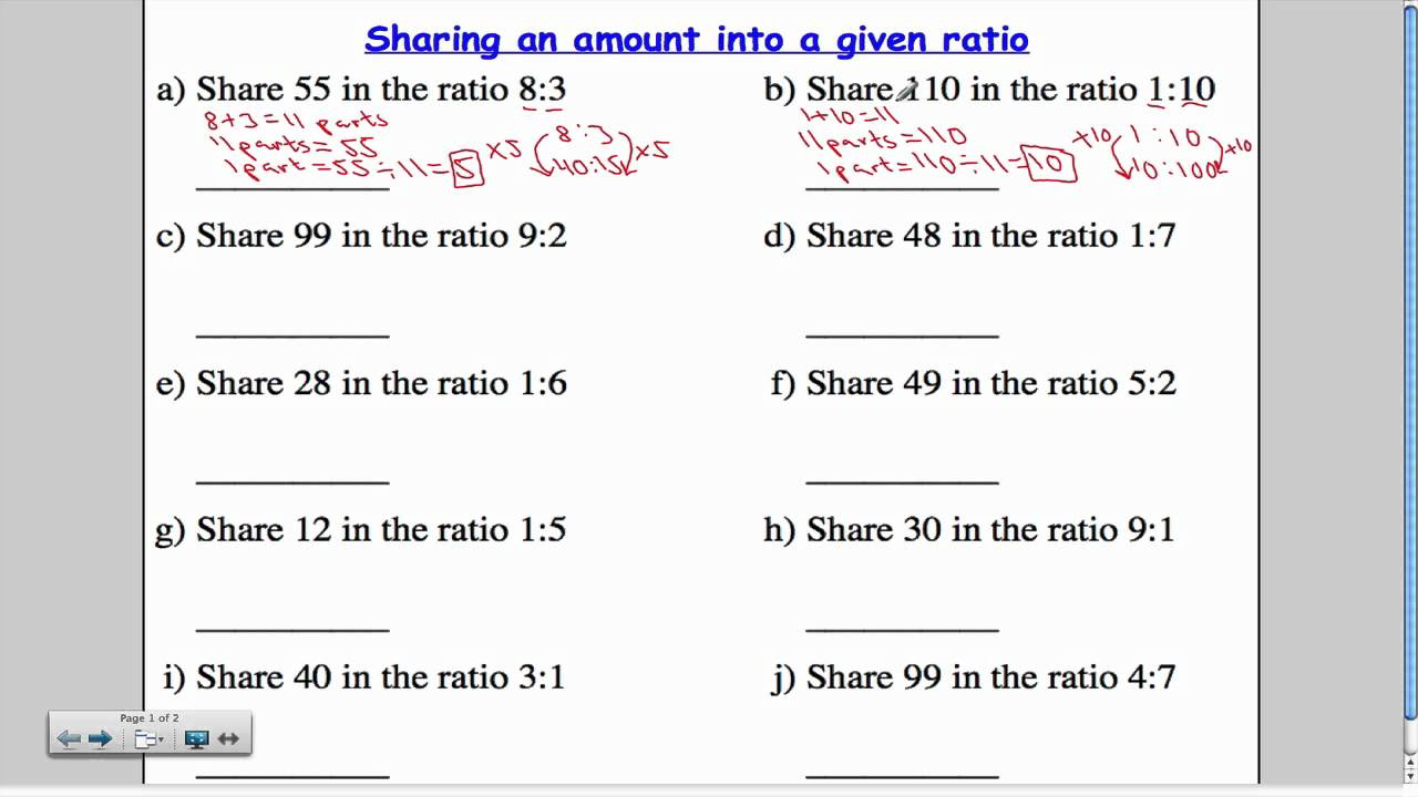 Sharing an amount into a given ratio - YouTube