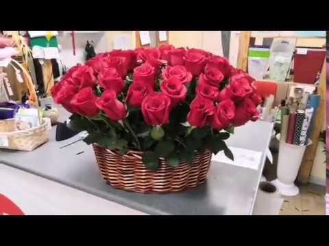 """65 роз в корзине. Корзина роз. Большой букет. Сервис доставки цветов """"15РОЗ"""""""