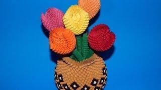 3D origami tulip flower