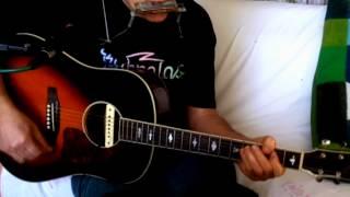 I Love A Rainy Night ~ Eddie Rabbitt ~ Acoustic Cover w/ Johnson JSD-66 & Bluesharp