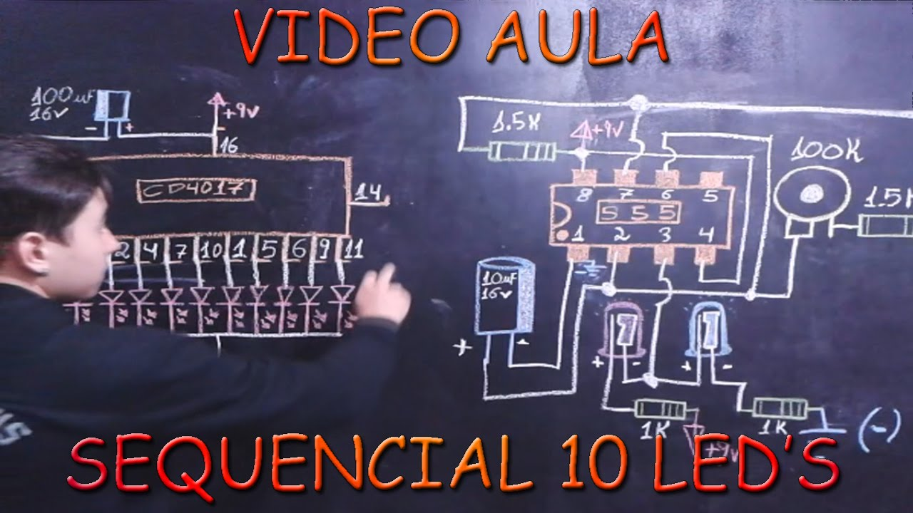 Como Fazer Circuito Sequencial 10 leds  Ci 4017   YouTube