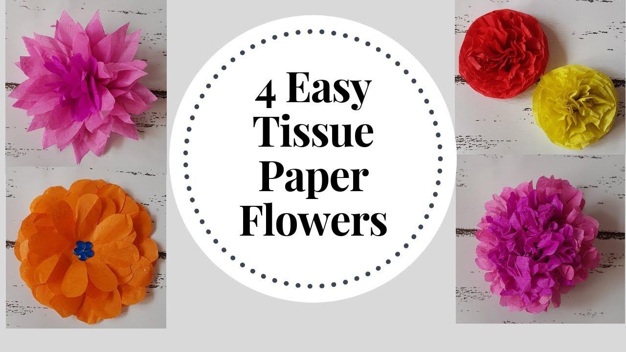 4 Easy To Make Tissue Paper Flowers Diy Tissue Paper Craft Idea Tissue Flower Tutorial