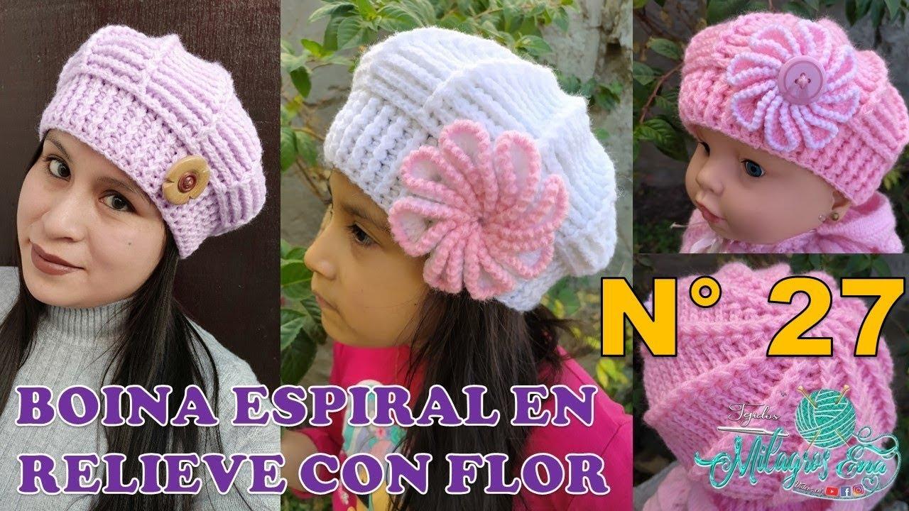 Boina Reversible en punto Espiral en relieves con Flor tejido a crochet para bebes, niñas y damas
