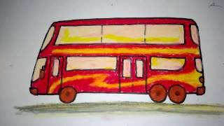 cara menggambar bis tingkat untuk anak SD SMP