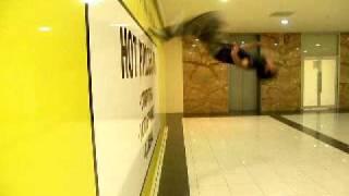 me at JB HI FI doing a wallflip
