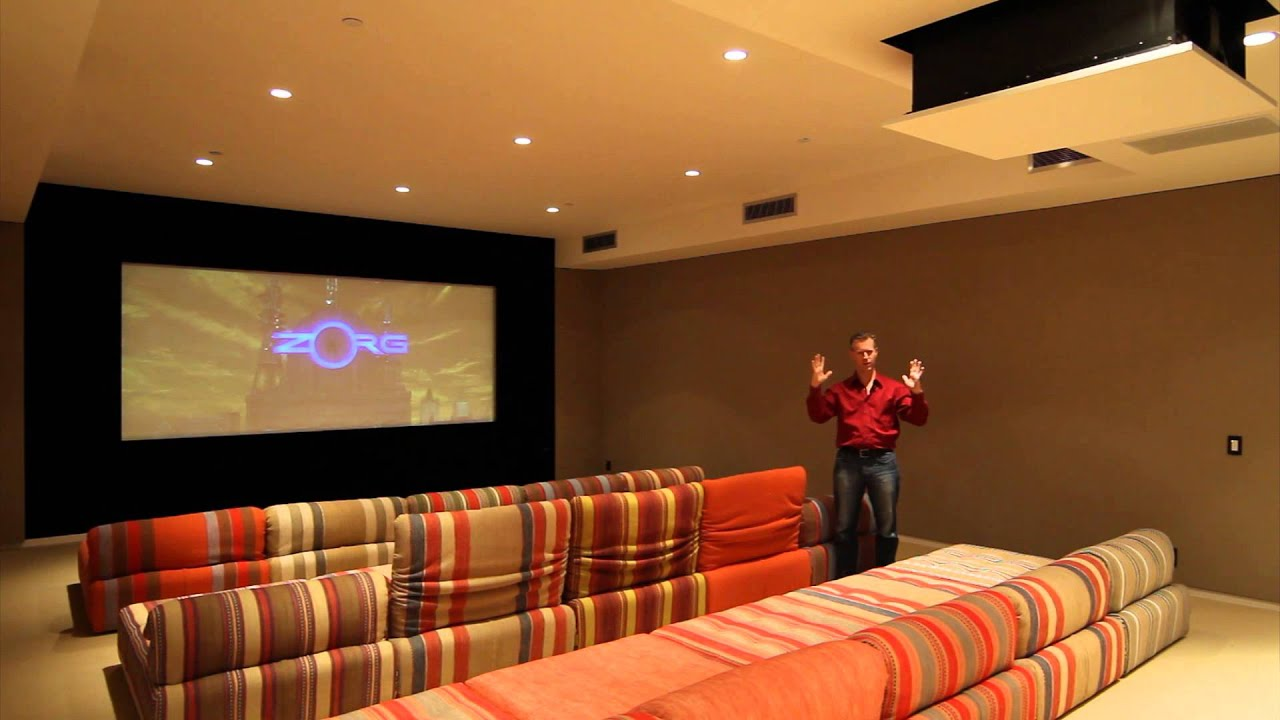 custom home theater systems. custom home theater with drop-down projector, screen masking, and automation tie-in - youtube systems