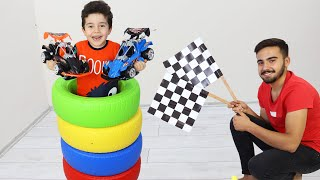 Yusuf and Uncle play race with Surprise Toy Cars
