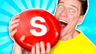 Sourest Giant Candy Challenge DIY! Worlds Biggest Skittles! Learn How To Prank Sour vs Edible Food thumbnail