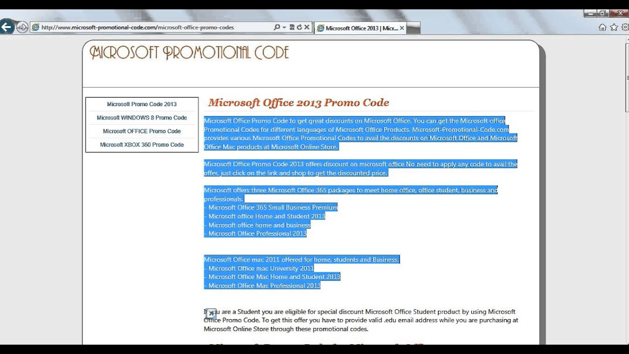 microsoft promotional code youtube