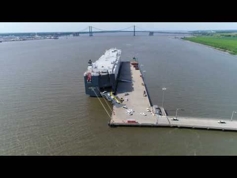 HOEGH ASIA Vehicle Carrier Ship Loading in Wilmington Delaware.