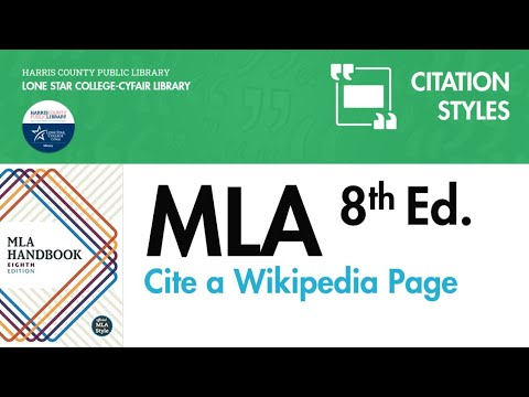 MLA Citation for a Wikipedia Page