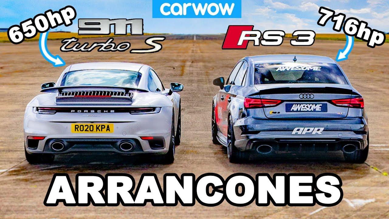 Porsche 911 Turbo S vs 716hp Audi RS3: ARRANCONES