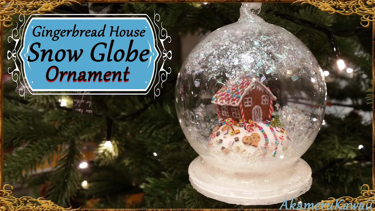 Gingerbread House Snow Globe Ornament Polymer Clay