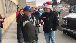 Navy Veteran Stunned, Can't Speak When Surprised With Vehicle From A Secret Santa