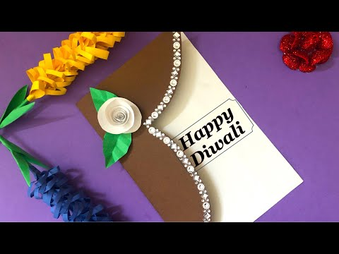 Art and craft with paper - handmade card for birthday / diwali : card for any occasion