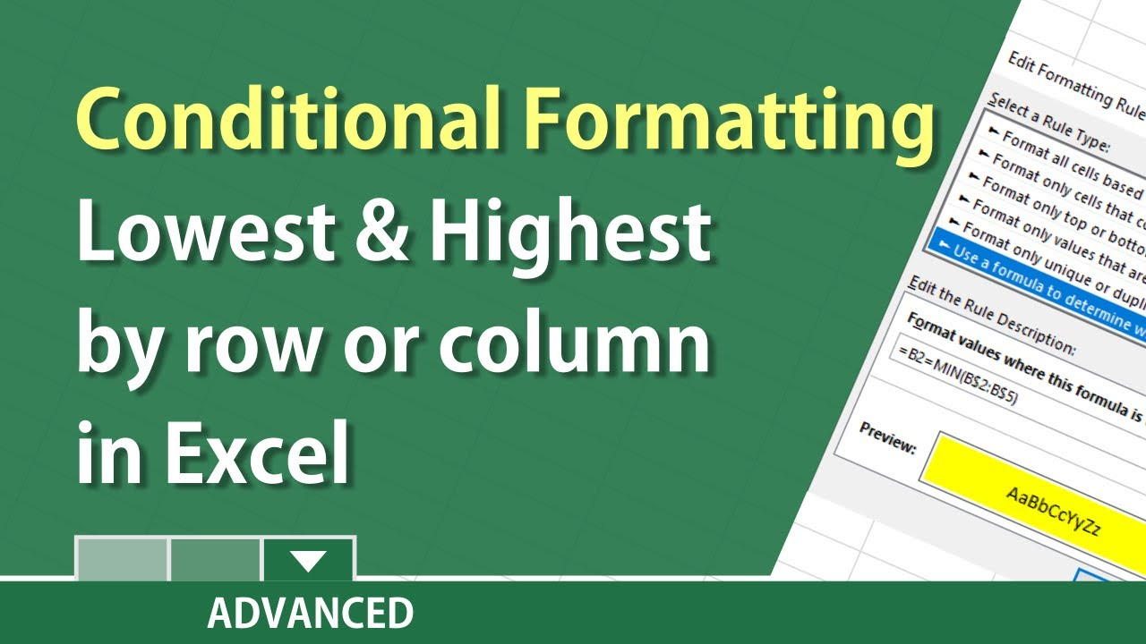 Excel find the lowest/ highest values for rows or columns w/ conditional  formatting by Chris Menard