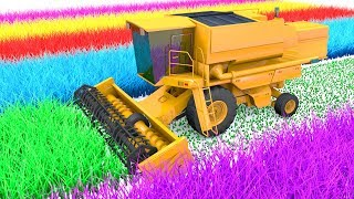 Colors for Children to Learn With Combine Farm Vehicles and Truck Toy for Kids