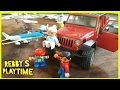 Lego People Riding Real Airplane. Toy Airplane and Bruder Jeep Wrangler. Rebby's PlayTime.장난감기차, 자동차