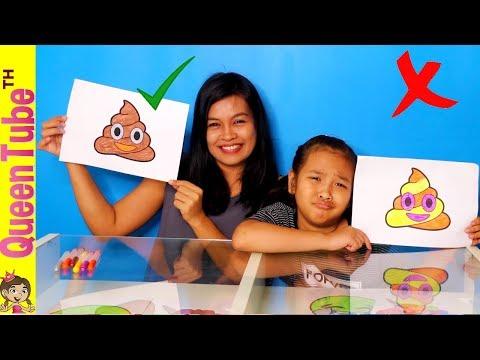 น้องควีน Vs. มามี้แอน เล่นชาเลนจ์ ระบาย 3 สี Emoji 😂🦄💩 3 MARKER CHALLENGE EMOJI | QueenTubeTH ✔︎