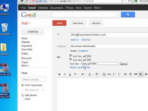 how to attach and send a document with gmail youtube