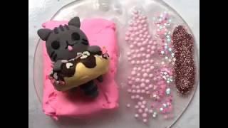 Попробуй не залипнуть! Слайм розовый котёнок. Видео из инстаграмм.