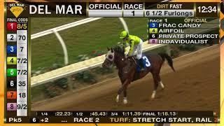 Frac Candy Wins Race 1 at Del Mar Races 11/25/17