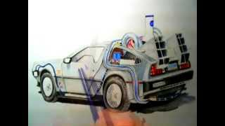 Speed Drawing The DMC Delorean time machine from Back to the future