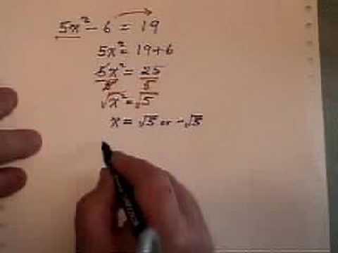 Solving A Simple Quadratic Equation No Linear Term Youtube