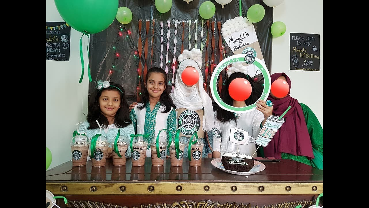 Starbucks Themed Birthday party for Kids , Room Decoration for Birthday  with Balloons