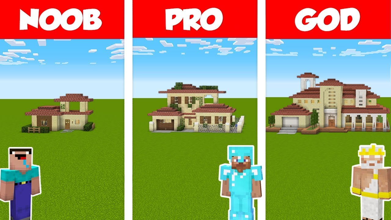 Minecraft Noob Vs Pro Vs God Italian House Build Challenge In Minecraft Animation Youtube