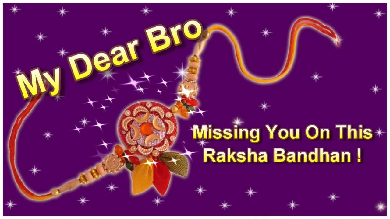 Missing You Bro On This Raksha Bandhan Happy Rakhi Greeting Card