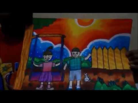 Cara Menggambar Mewarnai Anak Sd Tema Main Ayunan Oleh Rico Youtube