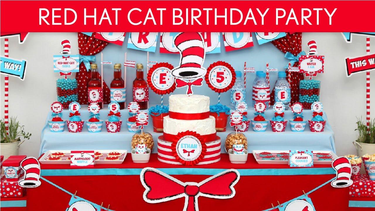 Dr Seuss Cat In The Hat Birthday Party Ideas Red Hat Cat B20 Youtube
